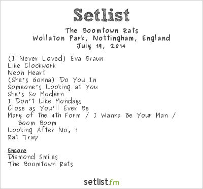 The Boomtown Rats Setlist Splendour Festival 2014 2014