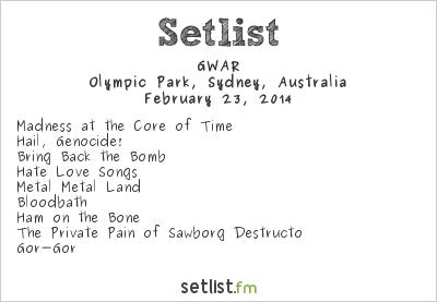 GWAR Setlist Soundwave Sydney 2014 2014