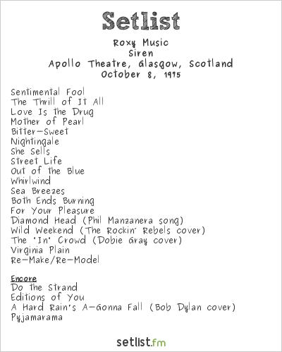 Roxy Music Setlist Apollo Theatre, Glasgow, Scotland 1975, Siren