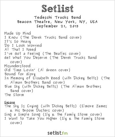 Tedeschi Trucks Band Setlist Beacon Theatre, Beacon, NY, USA 2013