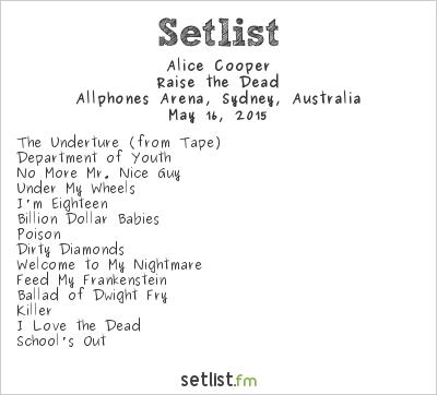 Alice Cooper Setlist Allphones Arena, Sydney, Australia 2015, Raise the Dead