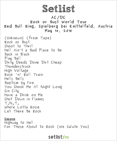 AC/DC Setlist Red Bull Ring, Spielberg bei Knittelfeld, Austria 2015, Rock or Bust World Tour