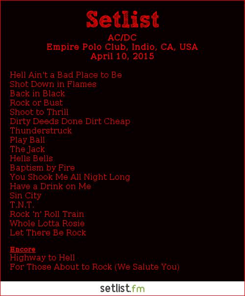 AC/DC Setlist Coachella Festival 2015 2015, Rock or Bust World Tour