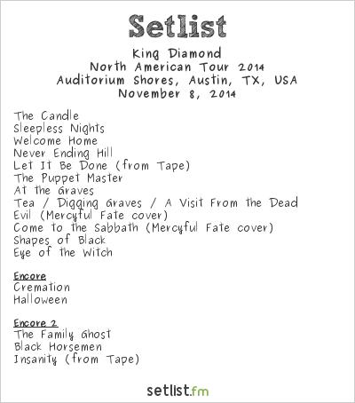 King Diamond Setlist FunFunFun Festival 2014, North American Tour 2014