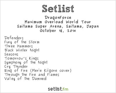 DragonForce Setlist Loud Park 2014 2014, Maximum Overload World Tour