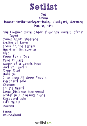 Yes Setlist Hanns-Martin-Schleyer-Halle, Stuttgart, Germany 1991, Union
