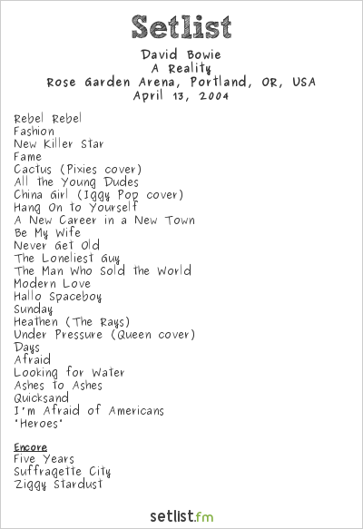 David Bowie Setlist Rose Garden Arena, Portland, OR, USA 2004, A Reality Tour