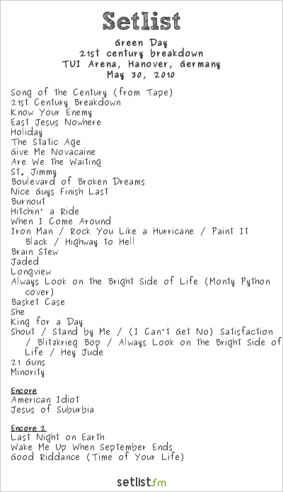 Green Day Setlist TUI Arena, Hanover, Germany 2010, 21st Century Breakdown World Tour