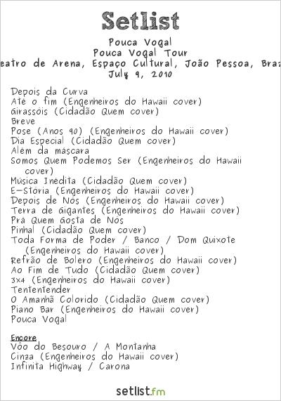 Pouca Vogal Setlist Teatro de Arena, Espaço Cultural, João Pessoa, Brazil 2010, Pouca Vogal Tour