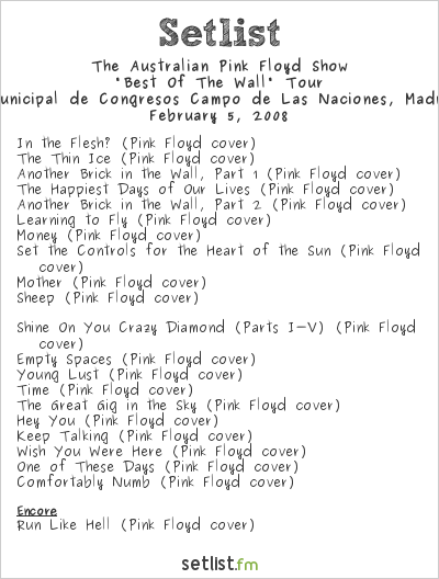 "The Australian Pink Floyd Show Setlist Palacio Municipal de Congresos, Madrid, Spain 2008, ""Best Of The Wall"" Tour"