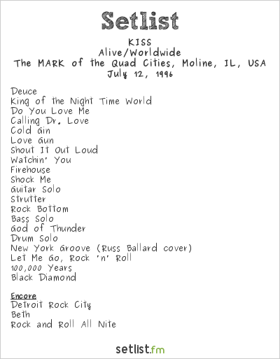 KISS Setlist Mark of the Quad Cities, Moline, IL, USA 1996, Alive/Worldwide