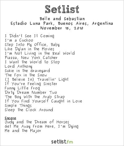 Belle and Sebastian Setlist Estadio Luna Park, Buenos Aires, Argentina 2010