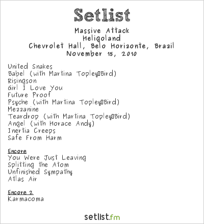 Massive Attack Setlist Chevrolet Hall, Belo Horizonte, Brazil 2010, Heligoland Tour