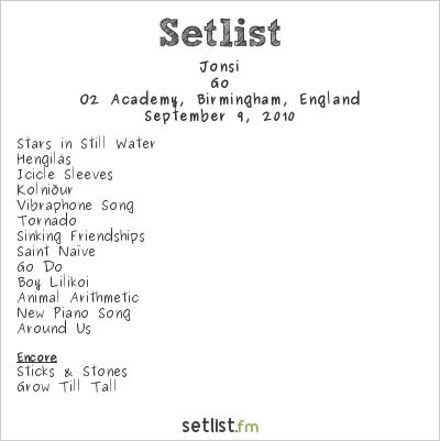 Jónsi Setlist O2 Academy Birmingham, Birmingham, England 2010