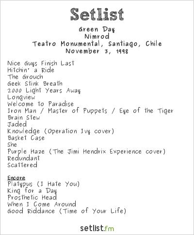 Green Day Setlist Santiago, Chile 1998, Nimrod