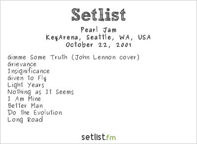 Pearl Jam Setlist Groundwork 2001 2001