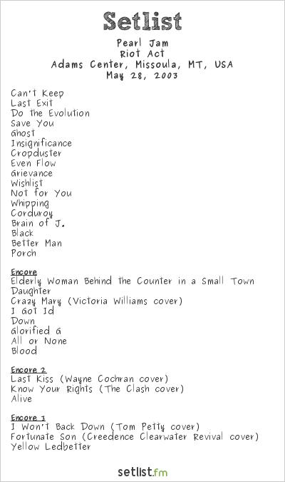 Pearl Jam Setlist Adams Center, Missoula, MT, USA 2003, Riot Act