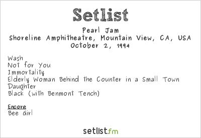 Pearl Jam Setlist Bridge School Benefit 1994 1994