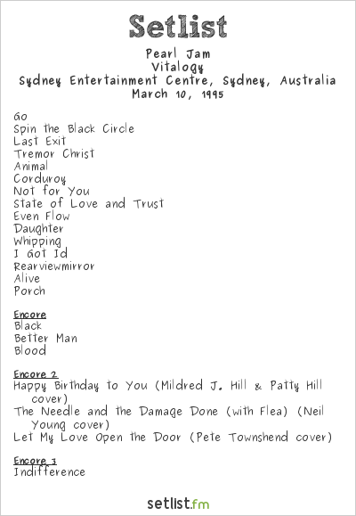 Pearl Jam Setlist Sydney Entertainment Centre, Sydney, Australia 1995, Vitalogy