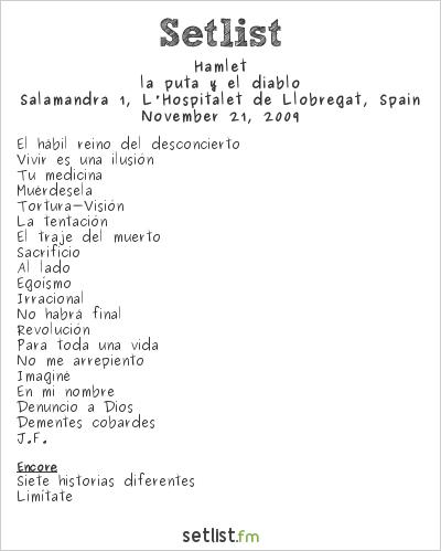 Hamlet Setlist Salamandra 1, Barcelona, Spain 2009, La puta y el diablo