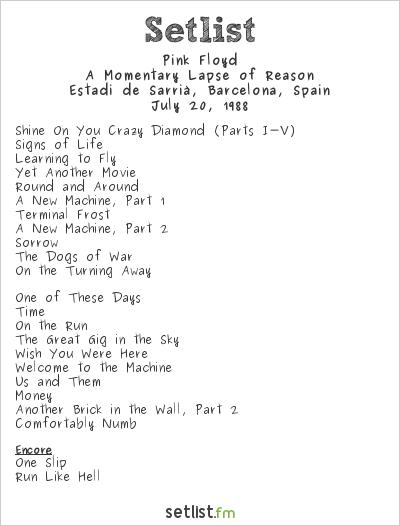 Pink Floyd Setlist Estadi de Sarrià, Barcelona, Spain 1988, A Momentary Lapse of Reason