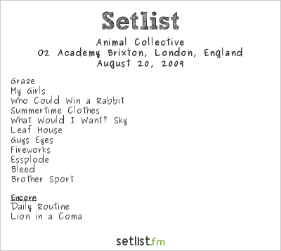 Animal Collective Setlist Brixton Academy, London, England 2009