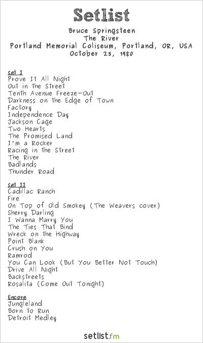 Bruce Springsteen The River Tour 1980 Setlist