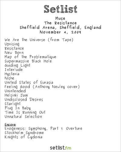 Muse Setlist Sheffield Arena, Sheffield, England 2009, Resistance European Arena Tour