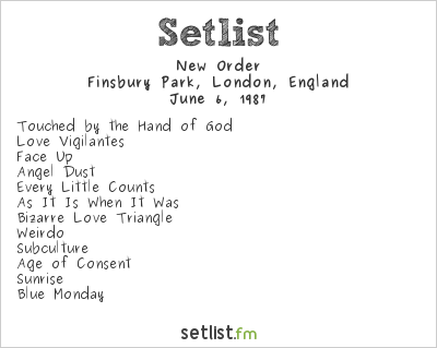 New Order Setlist Finsbury Park, London, England 1987