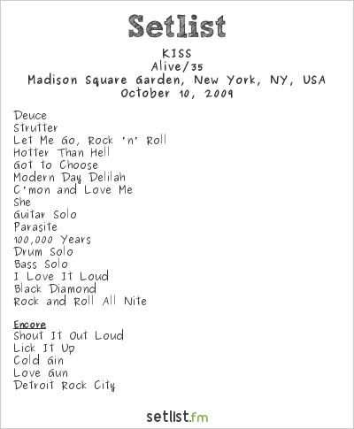 KISS Setlist Madison Square Garden, New York, NY, USA 2009, Alive 35