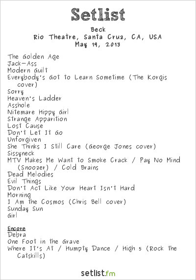 Beck Setlist The Rio Theatre, Santa Cruz, CA, USA 2013, Song Reader