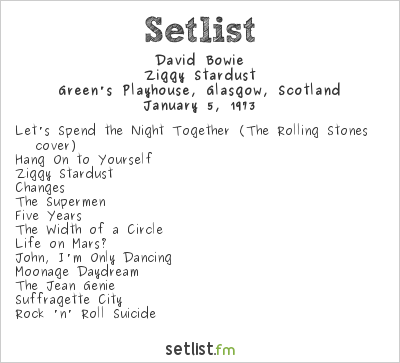David Bowie Setlist Green's Playhouse, Glasgow, Scotland 1973, Ziggy Stardust Tour