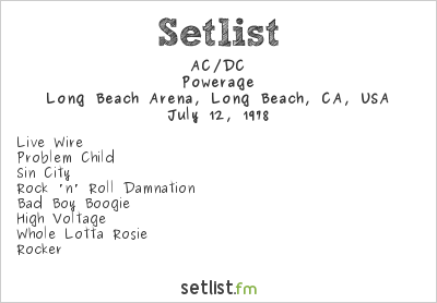 AC/DC Setlist Long Beach Arena, Long Beach, CA, USA 1978, Powerage