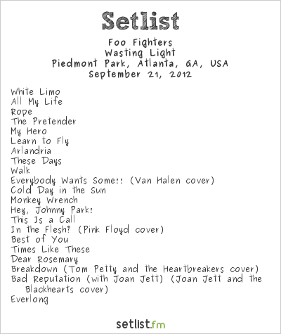 Foo Fighters at Music Midtown 2012 Setlist