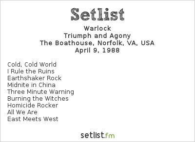 Warlock Setlist The Boathouse, Norfolk, VA, USA 1988