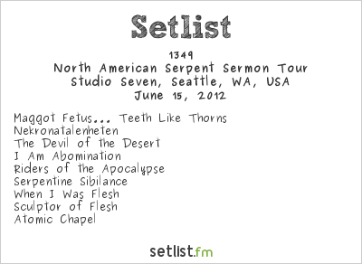 1349 Setlist Studio Seven, Seattle, WA, USA 2012, North American Serpent Sermon Tour