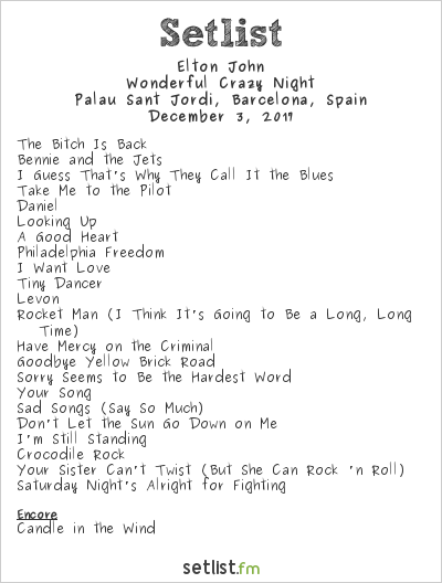Elton John Setlist Palau Sant Jordi, Barcelona, Spain 2017, Wonderful Crazy Night