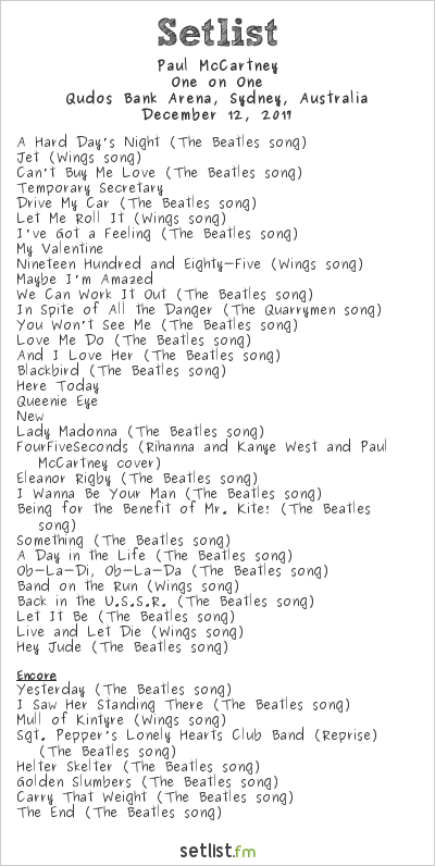 Paul McCartney Setlist Qudos Bank Arena, Sydney, Australia 2017, One on One