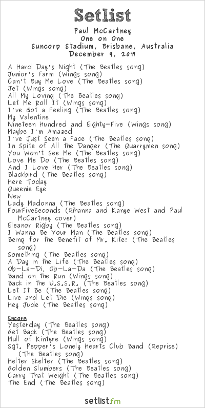 Paul McCartney Setlist Suncorp Stadium, Brisbane, Australia 2017, One on One