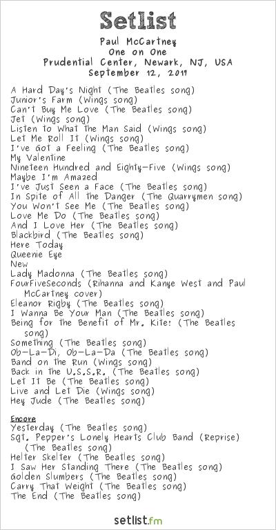 Paul McCartney Setlist Prudential Center, Newark, NJ, USA 2017, One on One