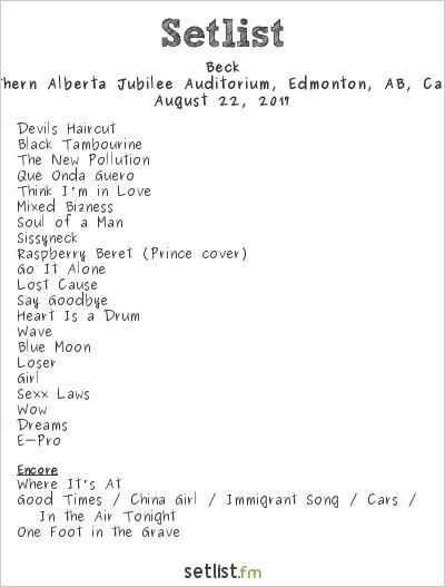 Beck Setlist Northern Alberta Jubilee Auditorium, Edmonton, AB, Canada 2017
