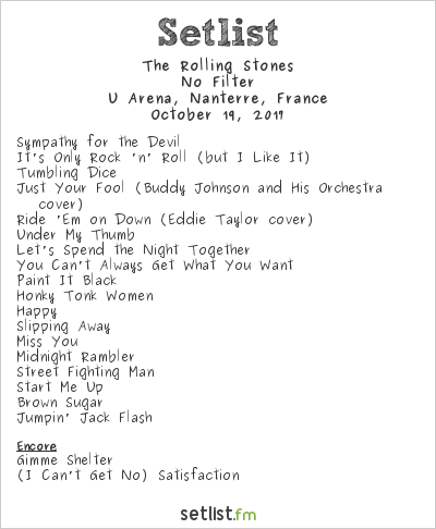 The Rolling Stones at U Arena, Nanterre, France Setlist