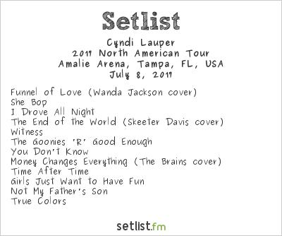 Cyndi Lauper Setlist Amalie Arena, Tampa, FL, USA, Rod Stewart / Cyndi Lauper 2017