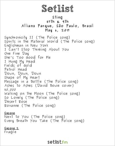 Sting Setlist Allianz Parque, São Paulo, Brazil 2017, 57th & 9th