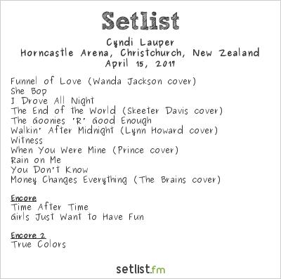 Cyndi Lauper Setlist Horncastle Arena, Christchurch, New Zealand 2017
