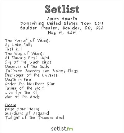 Amon Amarth Setlist The Boulder Theatre, Boulder, CO, USA, Jomsviking United States Tour 2017
