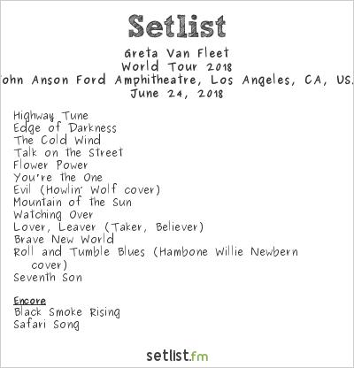 Greta Van Fleet Setlist John Anson Ford Amphitheatre, Los Angeles, CA, USA 2018