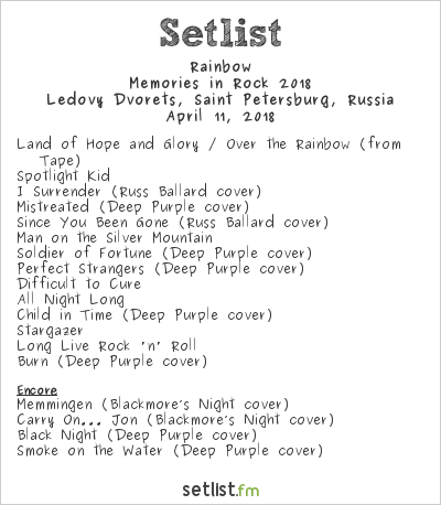 Rainbow Setlist Ledovy Dvorets, Saint-Petersburg, Russia, Memories in Rock 2018