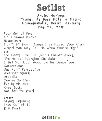 Arctic Monkeys Setlist Columbiahalle, Berlin, Germany 2018, Tranquility Base Hotel + Casino Tour