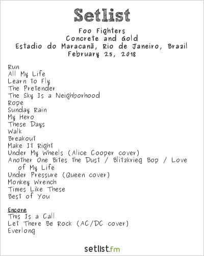 Foo Fighters Setlist Estádio do Maracanã, Rio de Janeiro, Brazil 2018, Concrete and Gold